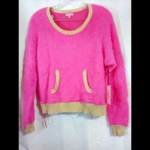 Juicy Couture Sz M Pullover Fuzzy Sweater Hot Pink